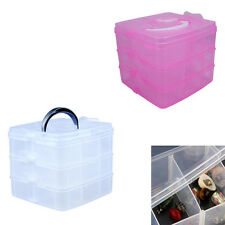 3 Tier 18 Compartment Slot Plastic Craft Storage Box Jewelry Tool case Organiser