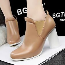 Shiny PU Comfort Casual Block High Heels Ankle Boots Elastic Work OL Women Shoes