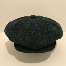 BLUE 8 PANEL BIG APPLE GATSBY CAP HARRIS TWEED 100% WOOL NEWSBOY FULL FITTING