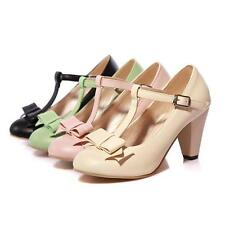 Womens Mary Janes T-Strappy Bar Cute Bow Tie Fashion Dress Pumps Shoes Plus Size