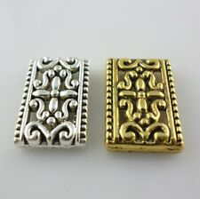 10/30/150pcs Tibetan Gold/Silver rectangle Carved designs Charm Connectors Beads