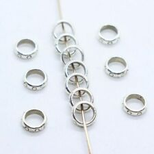 100/300pcs Tibetan Silver Round Rings Charm Loose Spacer Beads Jewelry Findings