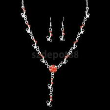 Wedding Prom Crystal Flower Earrings Necklace Jewelry Sets for Bridal Women Gift