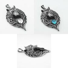 Vintage Silver Mens Stainless Steel Wolf Head Crystal Necklace Pendant Punk Rock