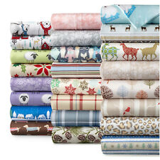 Flannel Sheet Set 4Pc Fun Print Flat Fitted Pillow Case Kids Teen Adult Bedroom