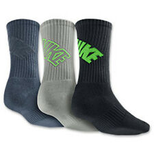 Nike Dri-Fit 3 Pack Fly Crew Socks Blue/Grey/Green SX4689-924 Sz L 8-12