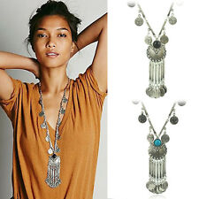 Women's Turquoise plated Coin Tassel Long Sweater Chain Pendants Trendy Necklace