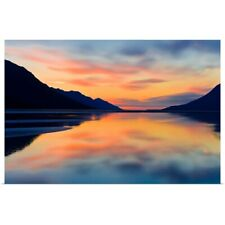 Poster Print Wall Art entitled Sunset colors reflected in the waters of