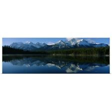 Poster Print Wall Art entitled Reflection of mountains on water, Herbert Lake,