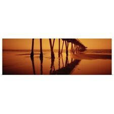 Poster Print Wall Art entitled Silhouette of a pier at sunset, Hermosa Beach