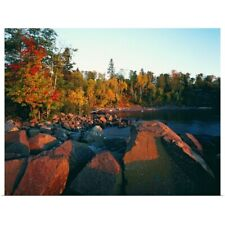 Poster Print Wall Art entitled Sunset light on rocky Lake Superior shoreline,
