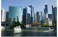 Poster Print Wall Art entitled Motorboats in a river, Chicago River, Chicago,