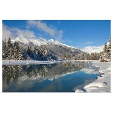 Poster Print Wall Art entitled Scenic winter landscape of Mendenhall River,