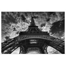Poster Print Wall Art entitled Eiffel tower and cloudy sky in Paris.