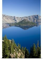 Poster Print Wall Art entitled Crater Lake and Wizard Island , Crater Lake