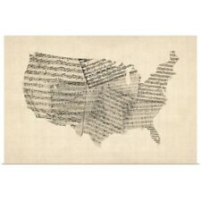 Poster Print Wall Art entitled United States Sheet Music Map