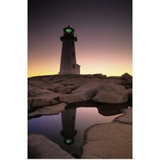 Poster Print Wall Art entitled Lighthouse At Dawn, Peggys Cove, Halifax County