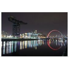 Poster Print Wall Art entitled Clyde Arc and Finnieston Crane at night