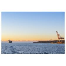 Poster Print Wall Art entitled Container ship and crane, early morning