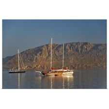 Poster Print Wall Art entitled Wooden sailing boat in Aegean Sea, Greek Islands,