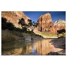 Poster Print Wall Art entitled Angels Landing reflected in the waters of the