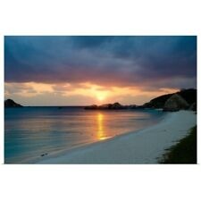 Poster Print Wall Art entitled Deserted tropical island beach at sunset, Okinawa