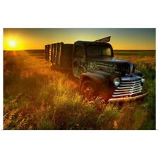 Poster Print Wall Art entitled Old Abandoned Farm Truck Illuminated At Sunrise,