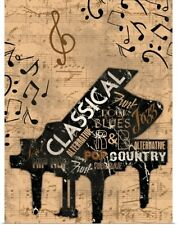 Poster Print Wall Art entitled Music Notes, Piano Cream