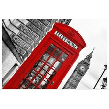 Poster Print Wall Art entitled Red Phone Booth in London with Big Ben