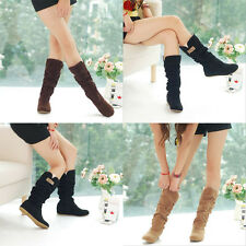 Fashion Womens Mid Calf Shoes Warmer Casual Knee High Crochet Lace Frosted Boots
