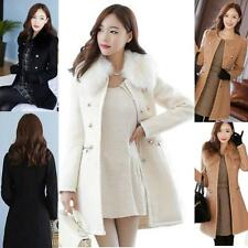 Slim Fur Collar lONG Coat Women Winter Wool Jacket Trench Parka Outwear Overcoat