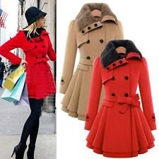 Fur Collar Womens Warm Jacket Double Breasted Trench Coat Parka Outwear Overcoat