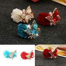 Delicate Women Shining Alloy Rhinestone Butterfly&Flower Cuff Rings Adjustable