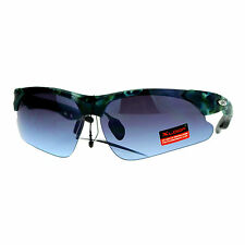 Xloop Sunglasses Mens Half Rim Matted Camo Print Sports Shades UV400