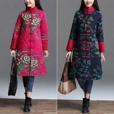 Vintage Flower Chinese Manual Qipao Button Linen Women's Quilted Jacket Coat