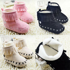 Sweet New Toddler Tassels Booties Soft Sole Baby Winter Warm Boot Crib Shoes L54