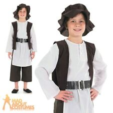 Child Tudor Poor Boy Costume Kids Orphan World Book Week Fancy Dress Outfit New