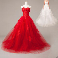Hot white/red Applique wedding dress ball gown custom size 4-6-8-10-12-14-16-18