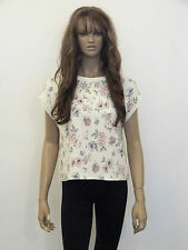 New womens cream with vintage look floral print textured top size 10-12
