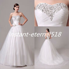 New Stock White Wedding Dress Ball Gown Bridal Gowns Custom Size 6-8-10-12-14-16