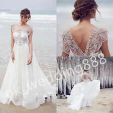 2018 New Bohemian Beach Wedding Dresses Rhinestones A Line Backless Bridal Gowns
