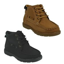N2005 JCDEES BOYS NUBUCK BOOTS BLACK & HONEY BROWN LACE UP ANKLE BOOT