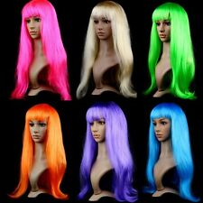 Sexy Ladies Women Long Straight Wigs Hair Cosplay Party Wigs Long Bangs Gifts