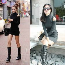 Fashion Sexy Ladies Long Sleeve Off Shoulder tight Neck Cotton Blends Mini Dress