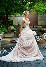 New Fashion V-neck Blush Pink Prom Ball Bridal Gown Wedding Dress Custom Size