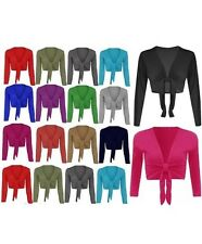 New Womens Ladies Long Sleeve Tie up Wrap Bolero Shrug Cardigan Top S/M-M/L