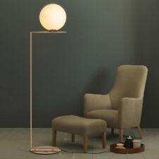 Cattel Contemporary Linear 1-Light Floor Lamp with Round Base Brass Chandelier