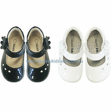 NEW Girls Toddlers Patent Leather Shoes with Dimonds sz 4-8.5 in White and Black