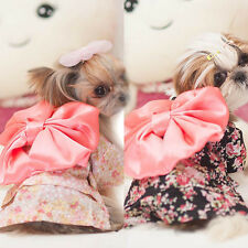 Trendy Dog Pet Clothes Floral Japanese Kimono Bow Tie Shirt Costume Sweet Dress