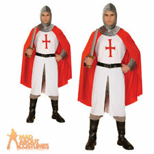 Adult Knight Crusader Costume Mens St George Medieval Fancy Dress Outfit New